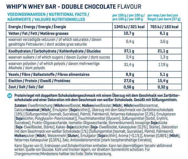 Barres Whip 'N Whey Nutritional Information 11