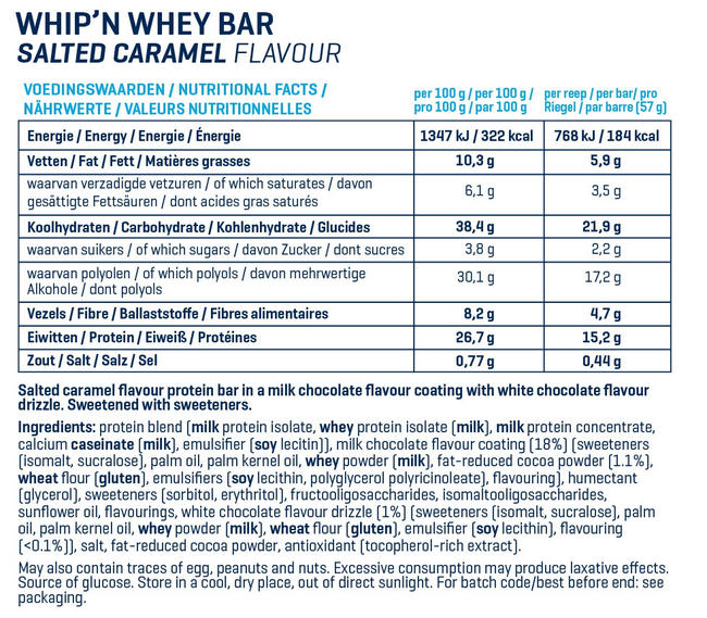 Barres Whip 'N Whey Nutritional Information 14