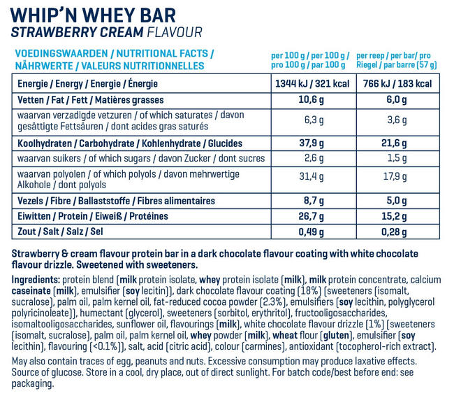 Barres Whip 'N Whey Nutritional Information 15
