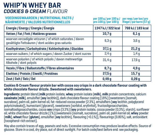 Barres Whip 'N Whey Nutritional Information 16