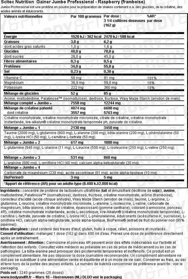 Gainer Jumbo Professional Nutritional Information 1