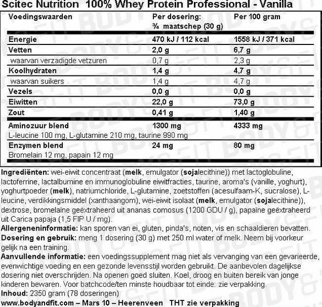 100% Whey Protein Professional Nutritional Information 1