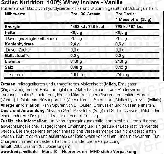 100% Whey Isolate Nutritional Information 1