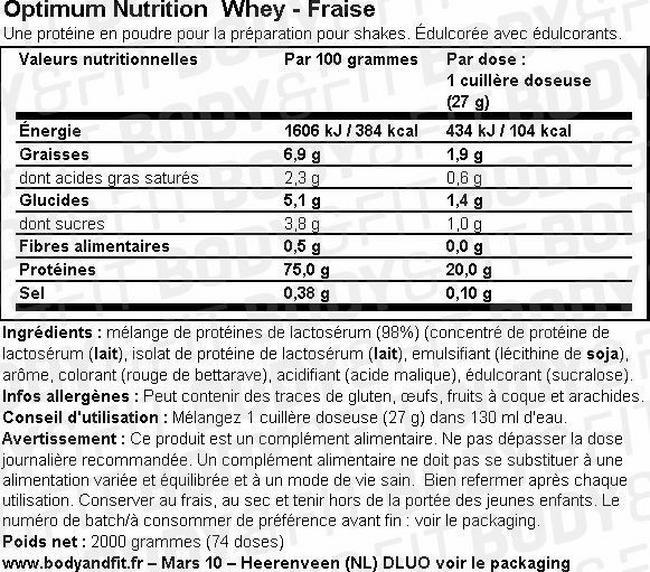 Poudre de lactosérum Optimum Nutrition Whey Nutritional Information 1