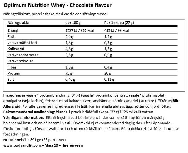Whey Nutritional Information 1