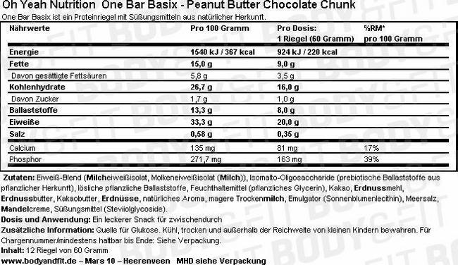 One Bar Basix Nutritional Information 1