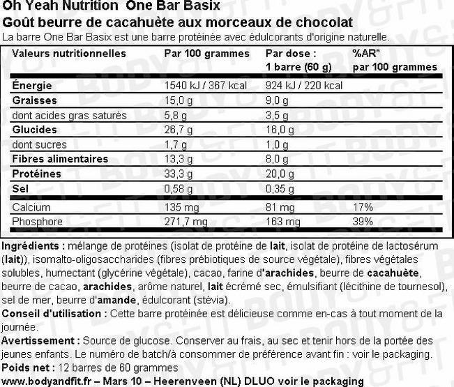 Barre protéinée One Bar Basix Nutritional Information 1