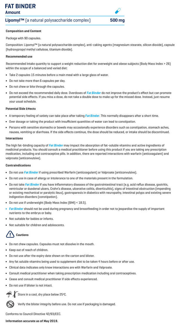 Fat Binder Nutritional Information 1