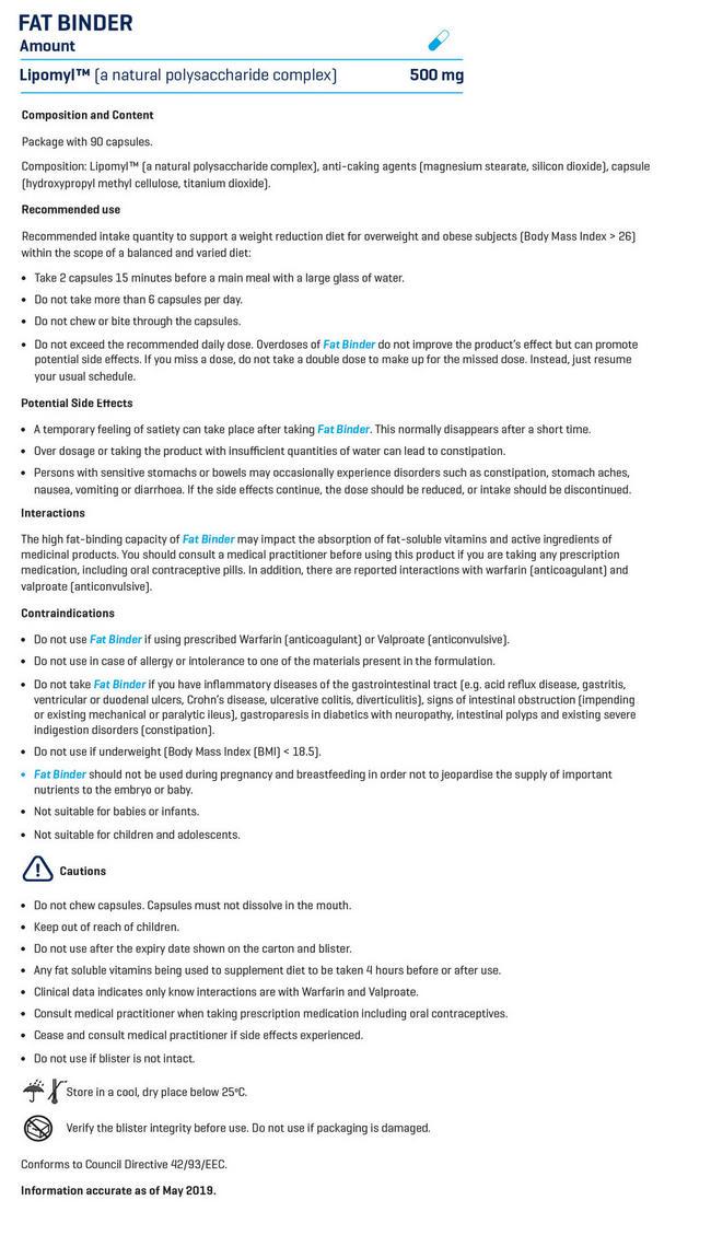 ファットバインダー Nutritional Information 1