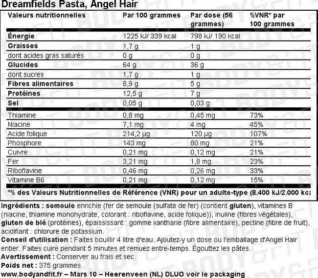 Dreamfields Pâtes Nutritional Information 1