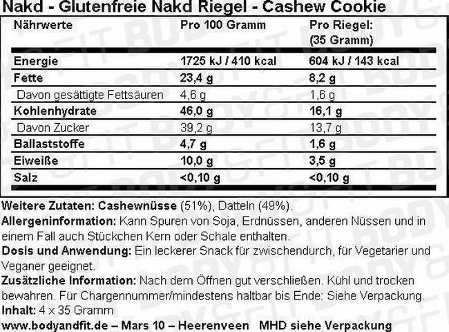 Glutenfreie Nakd-Riegel Nutritional Information 1