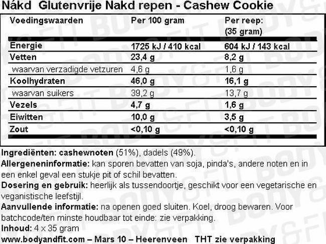 Glutenvrije Nakd repen Nutritional Information 1