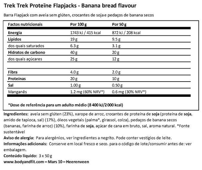 Protein Flapjacks Nutritional Information 1