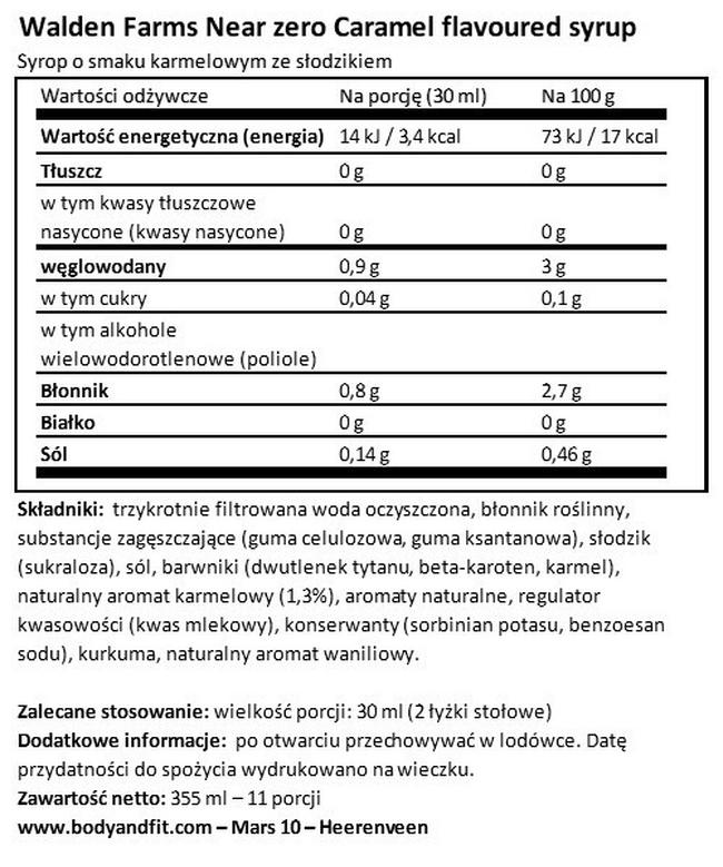 Syropy Walden Farms Nutritional Information 1