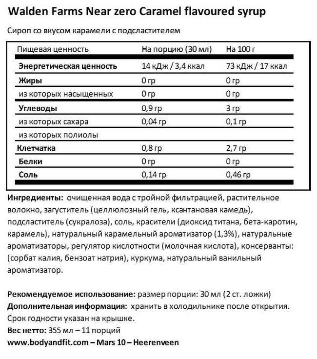 Сиропы «Уолден Фармс» Nutritional Information 1