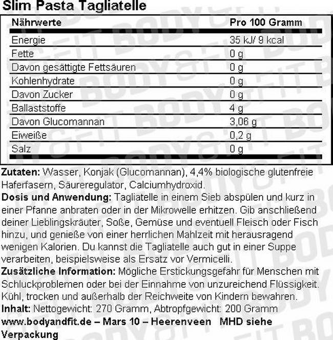 Slim Pâtes Nutritional Information 1