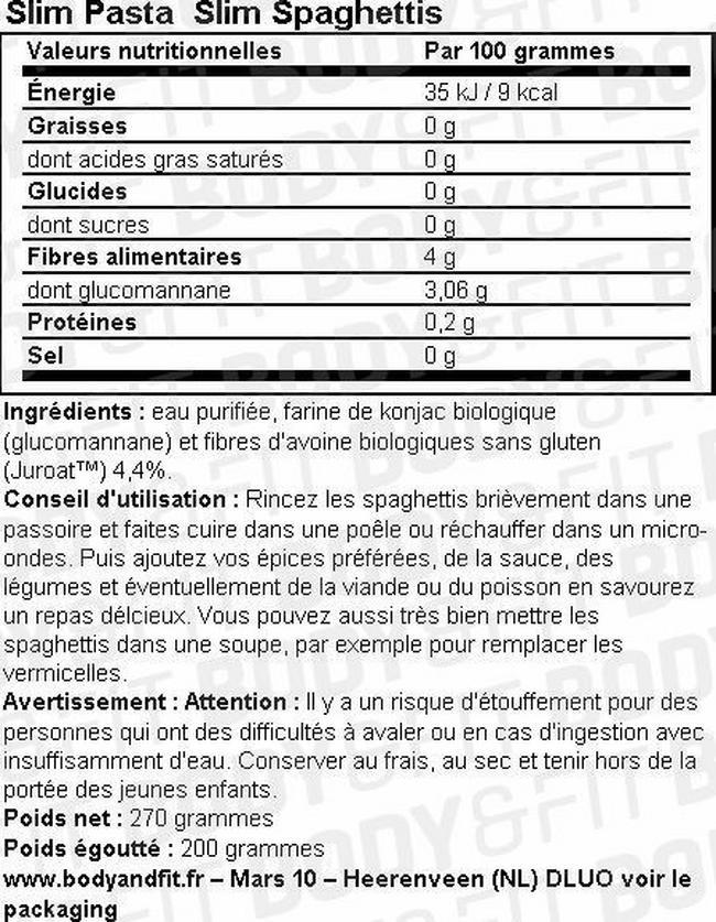 Slim Pâtes Nutritional Information 7