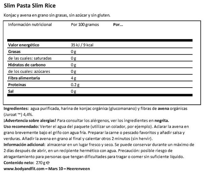 Slim Pasta Nutritional Information 1