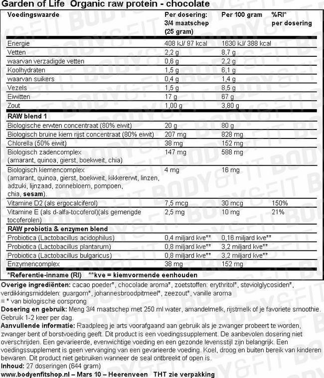 Organic Raw Protein Nutritional Information 2