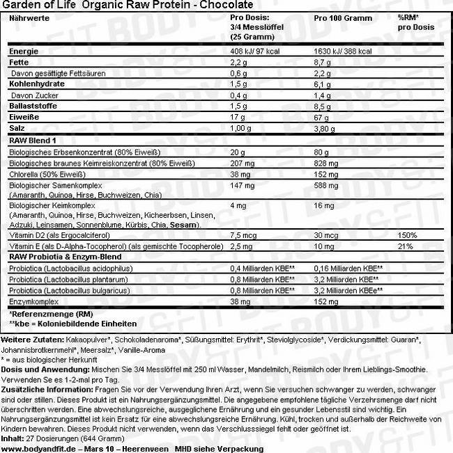 Organic Raw Protein Nutritional Information 3