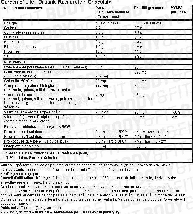 Organic Raw Protein Nutritional Information 6