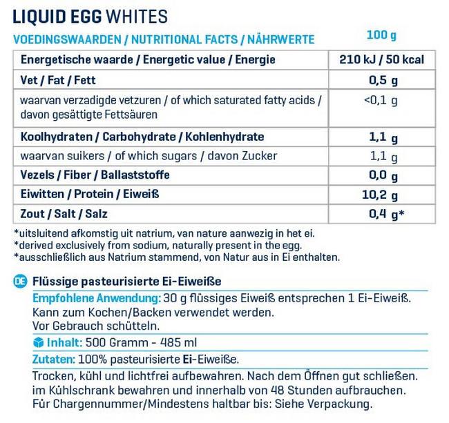Flüssiges Eiklar Nutritional Information 1
