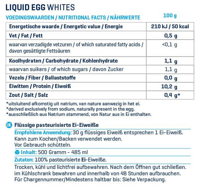 Flüssiges Eiklar Nutritional Information 1