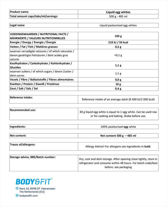 리퀴드 에그 화이트 Nutritional Information 1
