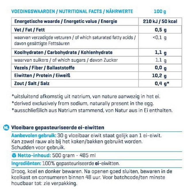 Vloeibaar Ei-Eiwit (Liquid Egg Whites) Nutritional Information 1