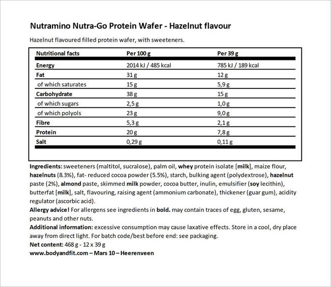 Nutra-Go Protein Wafer Nutritional Information 4