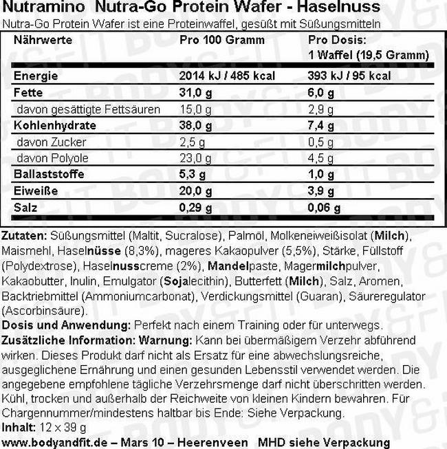 Nutra-Go Protein Wafer (12X39g) Nutritional Information 1