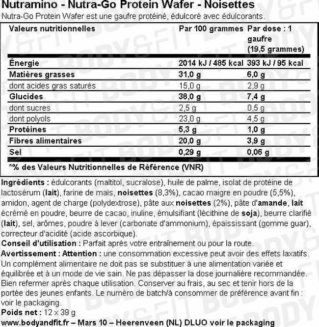 Gaufrette protéinée Nutra-Go Protein Wafer Nutritional Information 1