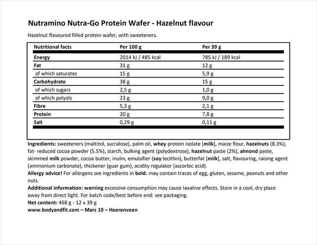 누트라-고 단백질 웨이퍼 Nutritional Information 1