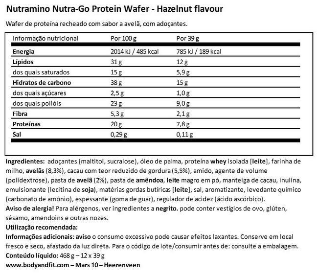 Wafer de proteína Nutra-Go Nutritional Information 1