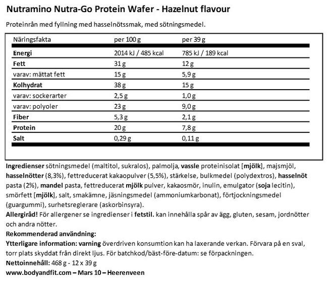 Nutra-Go Protein Wafer Nutritional Information 1