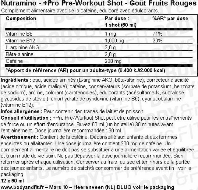 +Pro Pre-Workout Shot Nutritional Information 1