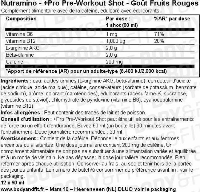 Shot Pro Pre-Workout Shot Nutritional Information 1