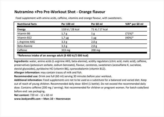프로 프리 워크아웃 샷 Nutritional Information 1