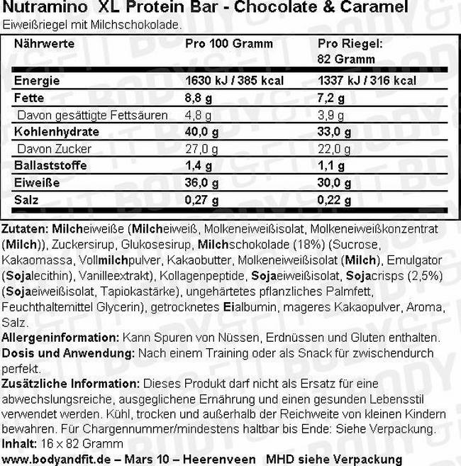 XL Protein Bar (16X82g) Nutritional Information 1
