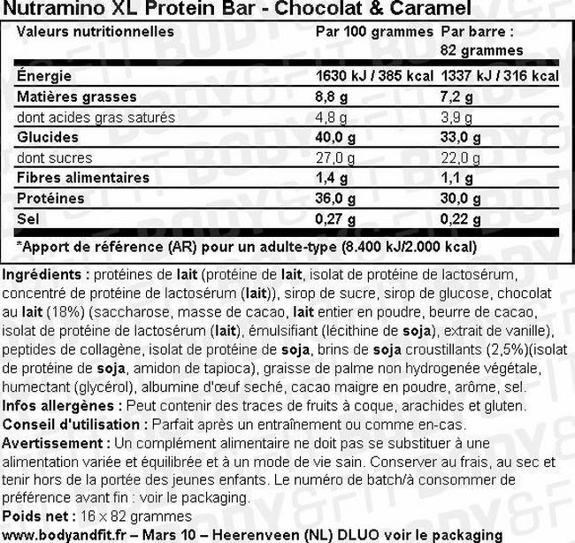 Barre protéinée XL Protein Bar Nutritional Information 1