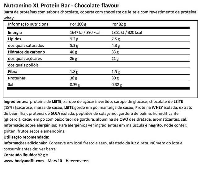 XL Protein Bar Nutritional Information 1
