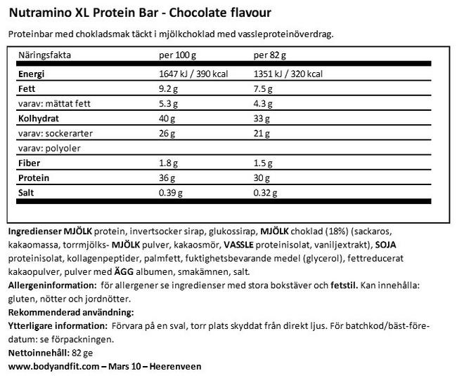 XL Protein Bar Nutritional Information 1