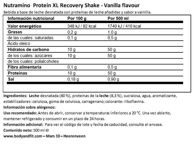 Protein XL Recovery Shake Nutritional Information 1