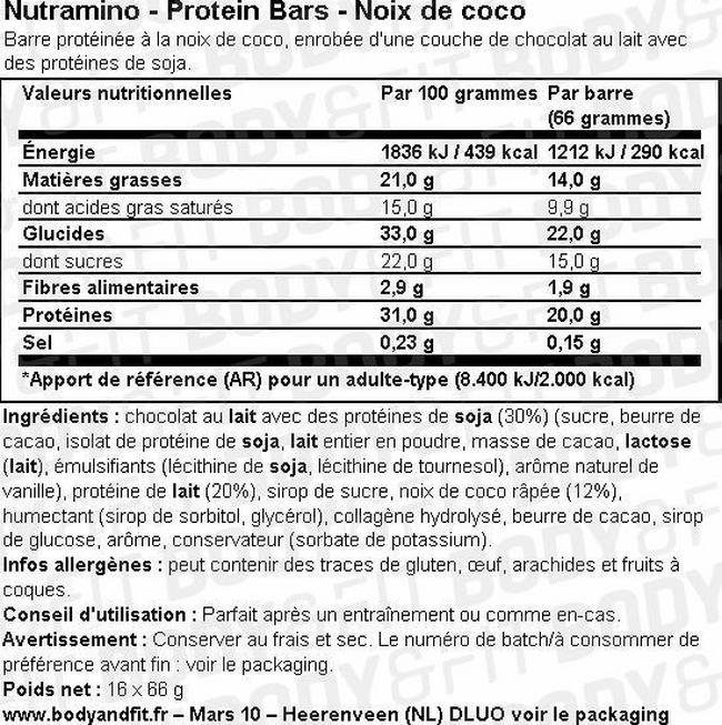 Barre protéinée Protein Bar Nutritional Information 1