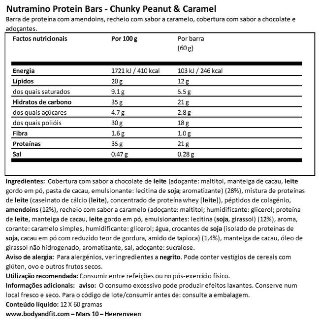 Barra de proteína Nutritional Information 1