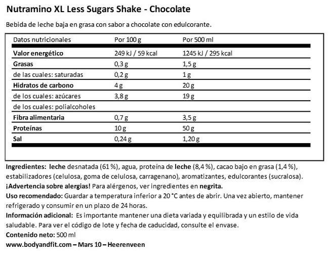 Protein XL Less Sugars Shake Nutritional Information 1