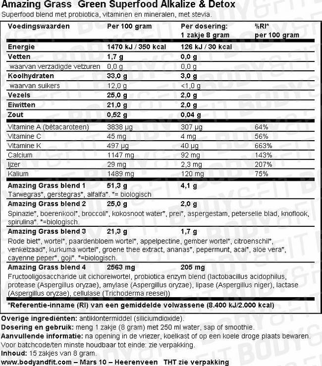 Green Superfood Alkalize & Detox Nutritional Information 1