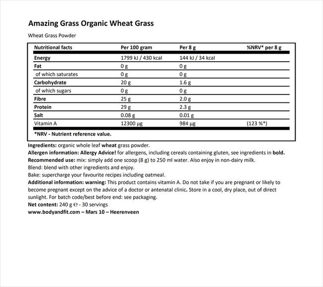 Organic Wheat Grass Nutritional Information 1