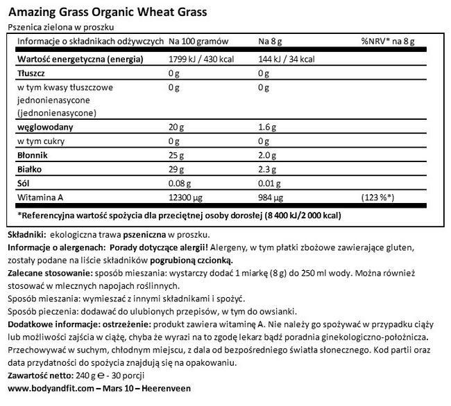 Ekologiczna pszenica zielona w proszku Nutritional Information 1