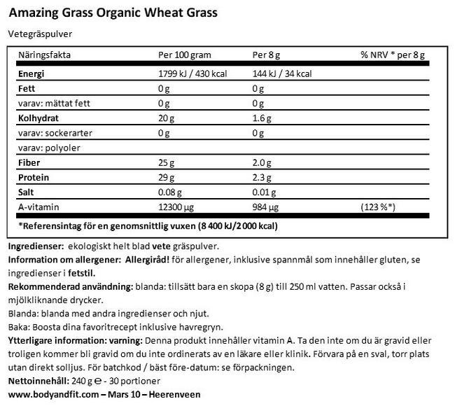 Ekologiskt vetegräs Nutritional Information 1